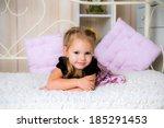 happy laughing toddler girl... | Shutterstock . vector #185291453