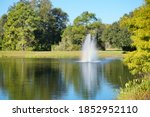 Pond And Geyser In A  Florida...
