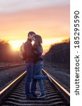 romantic couple kissing at... | Shutterstock . vector #185295590