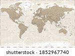 world map political   vintage... | Shutterstock . vector #1852967740