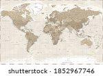 world map political   vintage... | Shutterstock . vector #1852967746