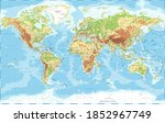 world map physical topographic  ... | Shutterstock . vector #1852967749