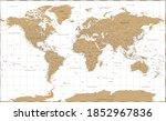 world map vintage golden...   Shutterstock . vector #1852967836