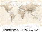 world map   physical   vintage... | Shutterstock . vector #1852967869