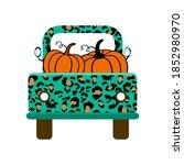 Leopard Truck With Pumpkins. A...