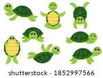 collection of green turtle...   Shutterstock .eps vector #1852997566