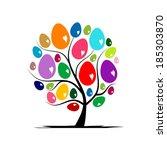 art tree with easter eggs for... | Shutterstock .eps vector #185303870