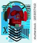 music robot skull with... | Shutterstock .eps vector #1853057410