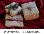 christmas card with presents on ... | Shutterstock . vector #1853060053