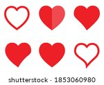 red heart sign icon set on... | Shutterstock .eps vector #1853060980