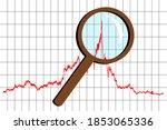 magnifying lens on the peak of... | Shutterstock .eps vector #1853065336