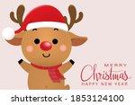 cute deer  reindeer in winter...   Shutterstock .eps vector #1853124100
