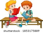 boy and girl reading a book...   Shutterstock .eps vector #1853175889