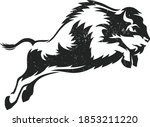 strong brawny bison jumping up    Shutterstock .eps vector #1853211220