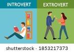 introvert and extrovert... | Shutterstock .eps vector #1853217373