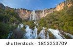 lequarci waterfalls in the town of ulassai, central sardinia