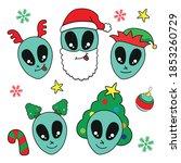 vector cartoon alien face with... | Shutterstock .eps vector #1853260729