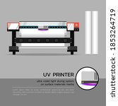 uv printer with media rolls and ... | Shutterstock .eps vector #1853264719