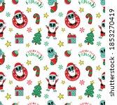 cute alien santa claus and... | Shutterstock .eps vector #1853270419