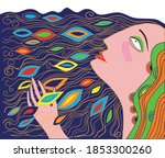 stylized profile of a woman... | Shutterstock .eps vector #1853300260