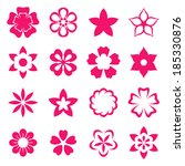 illustration flowers icons ... | Shutterstock .eps vector #185330876
