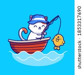 cute cat fishing in the sea on... | Shutterstock .eps vector #1853317690