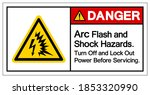 danger arc flash and shock... | Shutterstock .eps vector #1853320990