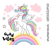 beautiful unicorn and the...   Shutterstock .eps vector #1853322910