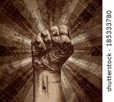 clenched fist on grunge... | Shutterstock .eps vector #185333780