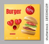 burger or fast food social... | Shutterstock .eps vector #1853340109