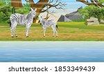 a herd of african zebras on the ... | Shutterstock .eps vector #1853349439