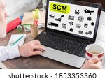 Small photo of Scm concept shown on a laptop screen