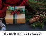 christmas composition with gift ... | Shutterstock . vector #1853412109