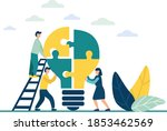people connect the parts of the ...   Shutterstock .eps vector #1853462569