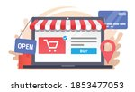 laptop with electronic commerce ... | Shutterstock .eps vector #1853477053