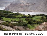 Top View Of A Valley With Gree...