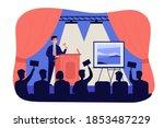 crowd of buyers bidding at... | Shutterstock .eps vector #1853487229