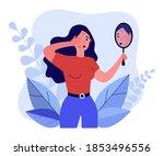 woman finding rash on her face. ... | Shutterstock .eps vector #1853496556