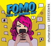 fomo  fear of missing out... | Shutterstock .eps vector #1853530696