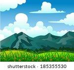 summer landscape with mountain  ... | Shutterstock . vector #185355530