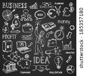 business hand drawn doodles in... | Shutterstock .eps vector #185357180