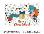 vector illustration of happy... | Shutterstock .eps vector #1853605663