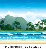 tropical landscape with blue... | Shutterstock .eps vector #185362178
