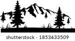 snowy mountain silhouette ... | Shutterstock .eps vector #1853633509