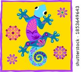 vector colorful lizard... | Shutterstock .eps vector #1853649643