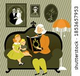 grandmother reading a story... | Shutterstock .eps vector #1853657953