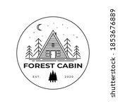 forest cabin line art logo... | Shutterstock .eps vector #1853676889