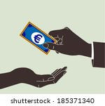 hand giving money euro to other ...