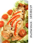 Small photo of View of a lobster thermidor on a bed of salad, close-up