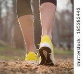 jogging in sunrise sunset. | Shutterstock . vector #185382443